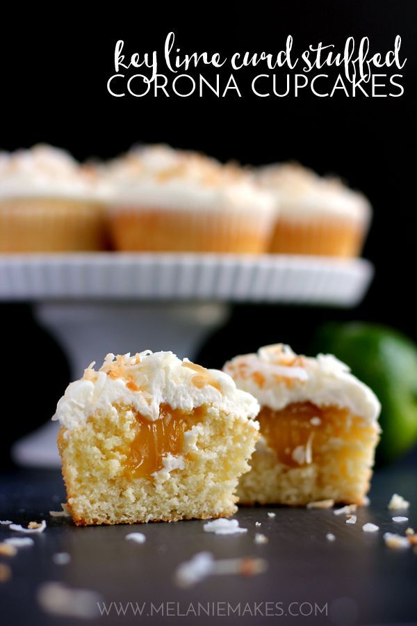 These Key Lime Curd Stuffed Corona Cupcakes with Coconut Buttercream frosting are perfect for Cinco de Mayo or anytime you're ready to celebrate. A Corona spiked cupcake stuffed with Key Lime curd and topped with coconut buttercream and toasted coconut. It's a drink! It's a dessert! It's a fiesta in a cupcake wrapper!