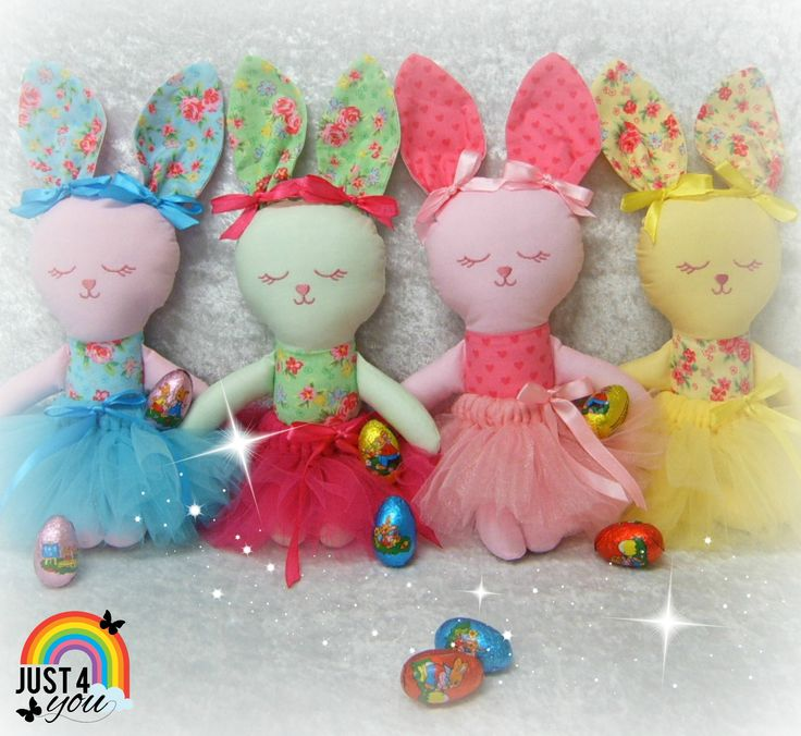 Easter Bunnies - Hop, hop, hop, so adorable. They have an embroidered face & stand approx 30cms (not including their ears)  The all have cute removable tutus  :)   Made with love at Just 4 You NZ  http://www.facebook.com/Just4YouNZ