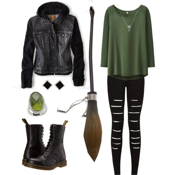 Slytherin Quidditch by ravenclawchick852 on Polyvore featuring polyvore, fashion, style, Uniqlo, American Eagle Outfitters, Dr. Martens, Yvel, Lord & Taylor and Nimbus