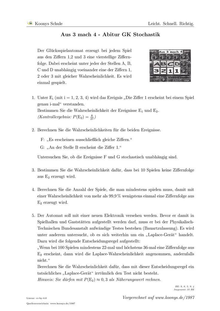 Aus 3 mach 4 Abitur GK Berlin 2008. Alle Aufgaben auf www.koonys.de/1987 vorgerechnet!
