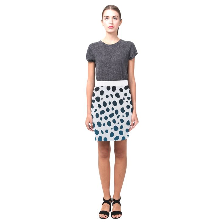 White leopard designers Skirt : white and black dots Edition 2016 Nemesis Skirt (Model D02).