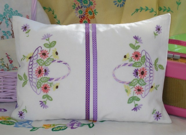 Vintage Embroidered Hand Made Cushion in Purple and Lilac