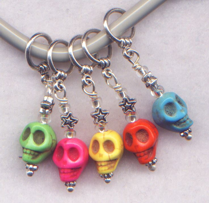 Rainbow Skulls Knitting Stitch Markers Composite Stone Skull Set of 5/SM226 from GloriaPatreSpinNKnit on Etsy Studio