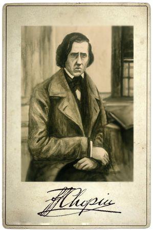 Fryderyk Chopin, card, vintage, illustration, francisco sad