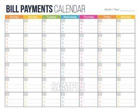 Bill Payments Calendar Printable - Bills Tracker - Financial Printables - Money Printables