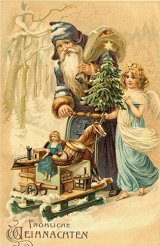 """Merry Christmas""!  Vintage German postcard ~ photo by Susan Criser."