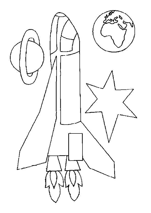 Coloriage d'un dessin d'une fusée dans l'espace
