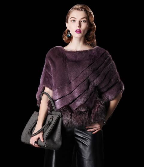 mink fur poncho with fox fur bottom.$1060.Eileenhou