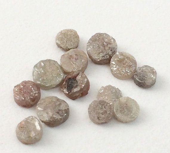 Pink Grey Rough Diamond Discs Diamond Tyre 6 Pcs by gemsforjewels