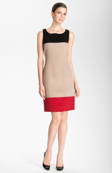 St. John Collection Colorblock Sheath Dress in Beige (caviar/ dark oatmeal/ ruby) - Lyst