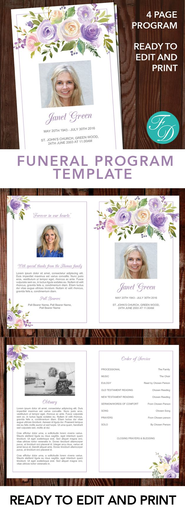 Floral Printable Funeral program ready to edit & print. Simply purchase your funeral templates, download, edit with Microsoft Word and print. #obituarytemplate #memorialprogram #funeralprograms #funeraltemplate #printableprogram #celebrationoflife #funeralprogamtemplates