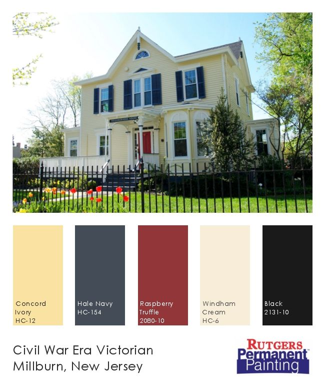 Exterior paint color inspiration.  Yellow, navy, cream & red on a Victorian home in Millburn, NJ.  House painted with Permanent Paint by Rutgers Permanent Painting.