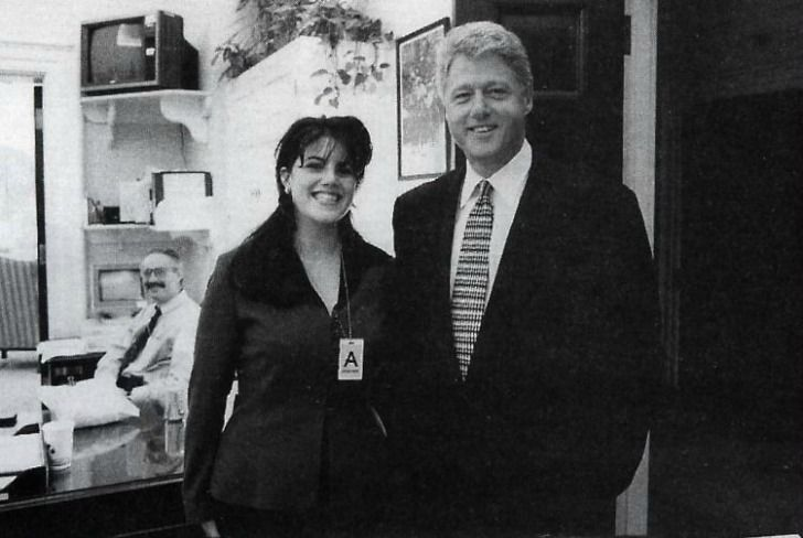 Bill Clinton is shown here with his infamous intern, Monica Lewinsky.