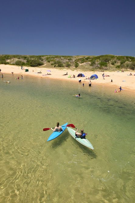 Narrabeen Lagoon behind sand dunes, Narrabeen Lake, Northern Beaches, Sydney.