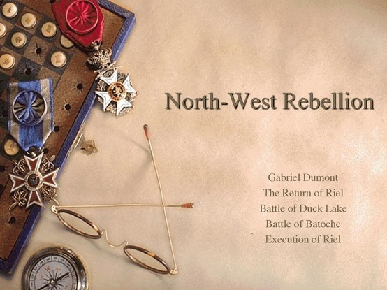 The North west rebellion was an unsuccessful uprising by the metis. In 1884 the Metis asked Louis Riel to return from the United States, where he had fled after the Red River Rebellion, to appeal to the government on their behalf. Despite some notable early victories at Duck Lake, Fish Creek and Cut Knife, the rebellion effectively ended for the Metis with their defeat at the siege of Batoche, Saskatchewan, and the trial and hanging of Louis Riel.