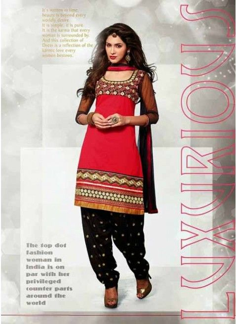 Richlook Black & Red Chiffon Based Salwar #Suit With Resham Work #salwarkameez #ethnicwear #womenapparel #womendresses