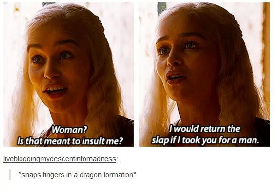 You just got burned by Daenerys Stormborn of House Targaryen, Queen of the Andals and the First Men, Khaleesi of the Great Grass Sea, Breaker of Chains, and Mother of Dragons, son.