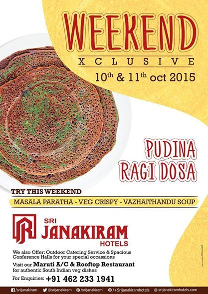 An exhaustive and enticing spread of #vegetarian #dishes continued to pamper your #delicacies this #weekend at Srijanakiram Hotels #Menu this #weekend #MasalaParatha #PudinaRagiDosai #VazhaithanduSoup #VegCrispy