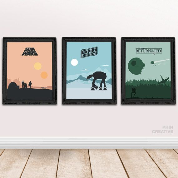 Star Wars Trilogy Minimalist Movie Posters Set Of Star Wars Trilogy Art  Print, Home Office Decor, Minimalist Poster, Birthday Christmas