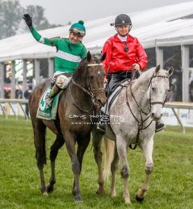 Charles, right, ponies Exaggerator to the winner's circle after the 2016 Preakness. Photo by Caris Photography and courtesy Kimberly Godwin Clark