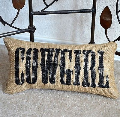 COWGIRL Burlap Pillow Western Home Decor little cowgirl bedroom decoration