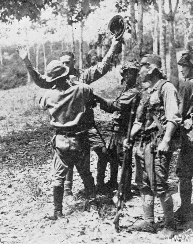 Japanese Troops Disarming Captured British Soldier Malaya Circa