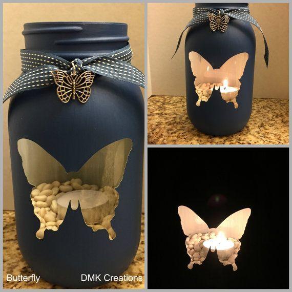 Schmetterling bemalte Einmachglas Teelicht Kerzenh…