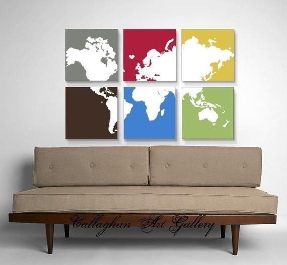 Cadres carte du monde en 6 tableaux