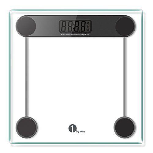 Balance Précision 1byone Pèse Personne 180kg / 400lb, Impédancemètre Verre Trempé Auto-Calibré et technologie Step-on, précision 0.1kg /…