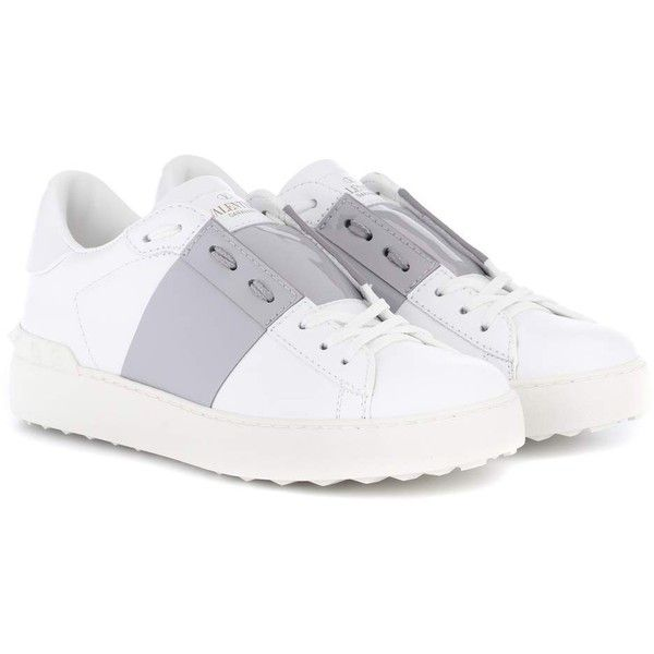Valentino Valentino Garavani Open Leather Sneakers (€570) ❤ liked on Polyvore featuring shoes, sneakers, white, valentino trainers, leather sneakers, white leather trainers, white sneakers and leather shoes