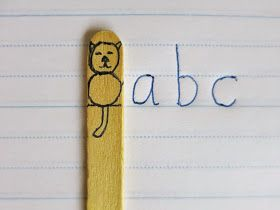 """Make a """"Clever Cat"""" stick to help kids visualize where letters sit on the lines.  :)  #printing"""