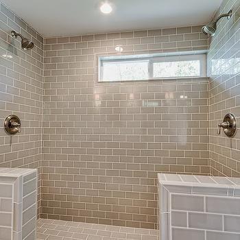 pumice subway tiles transitional bathroom white gold design - Ubahnaufkantung Grau