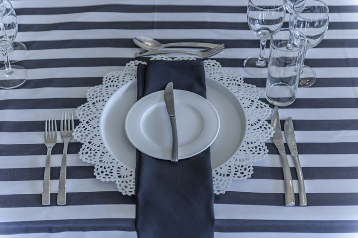 Table Setting with Lace Charge and Black Napkin