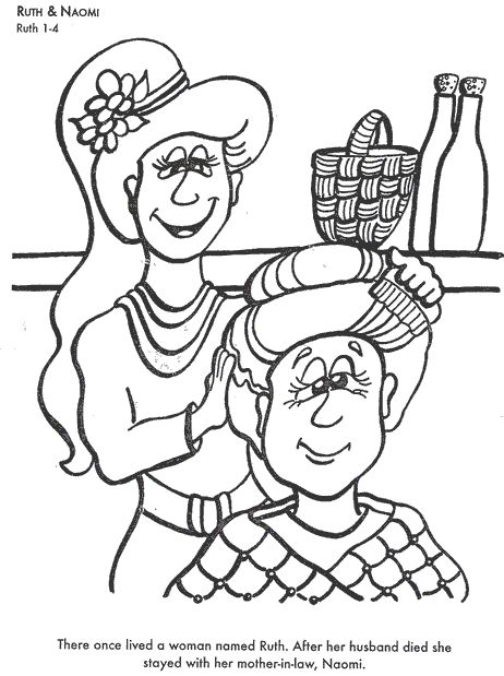 Learn Bible Stories With Ruth Naomi Coloring Page