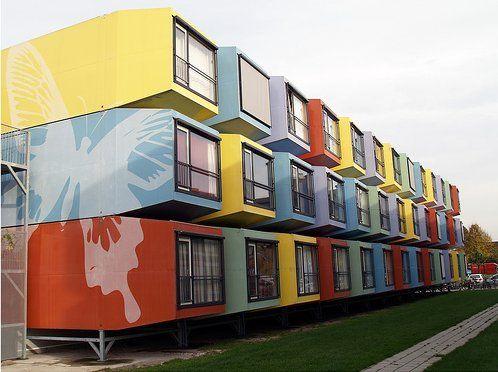 """Logements étudiants insolites Les """"Spacebox"""" d'Utrecht aux Pays-Bas"""