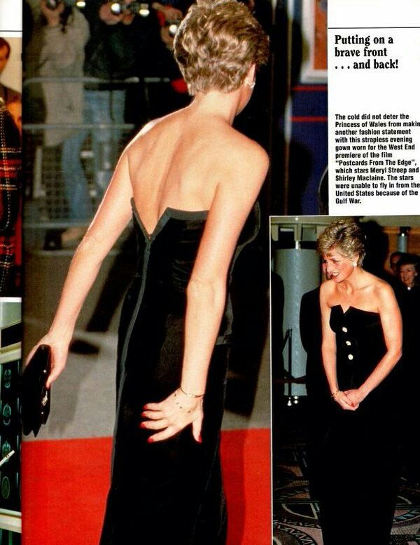 23 January 1991: Princess Diana attends the movie premiere 'Postcards from the Edge' at the Odeon Leicester Square. Wearing her black' white buttoned' Edelstein gown.