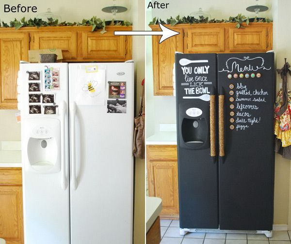 DIY Chalkboard Paint Refrigerator Allows You to Write Fun Menu or Shopping Lists #chalkboard #makeover #remodeling