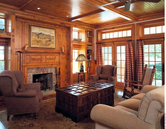 Custom Made Knotty Pine Paneling & Mantel Family Room, this color wood and type