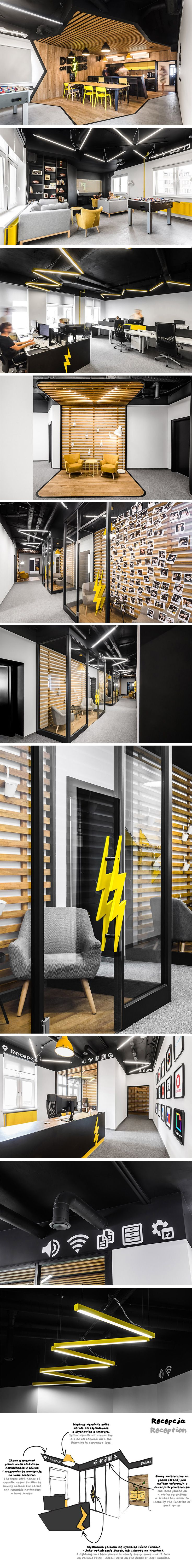 Droids on Roids is a team of programmers, so making their new office seem familiar made perfect sense to the designers at Mode:lina. Navigating the space is a lot like navigating the home screen on your phone! Icons placed on the black stripe that runs along the walls (that serves as a sort of status bar) as well as the doors serve as a visual code which allows employees and guests to identify the function of each space.