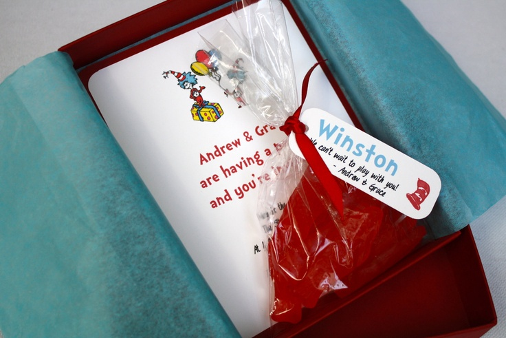 Dr. Seuss Birthday Party Invitation - Box Mailer, Personalized Favor with Ribbon & Custom Name Tag, Tissue Paper, Multi-Layered Invitation. $72.00, via Etsy.