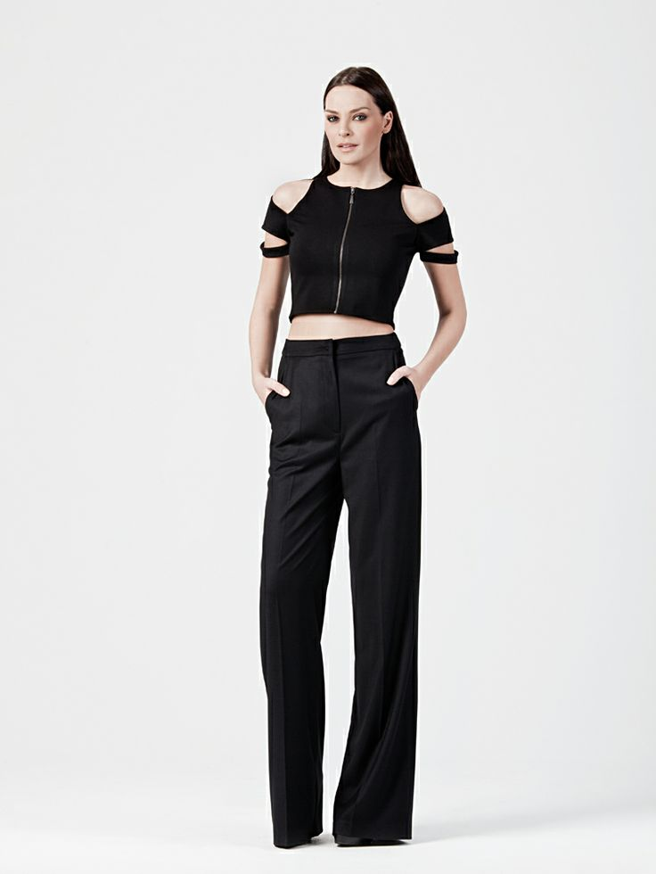 HIGH WAISTED TROUSERS AND COLD SHOULDER CROP TOP http://www.beyoubyyvonne.com/en/shop/pants/high-waisted-trousers.html