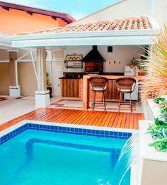 Image result for quintal pequeno com piscina