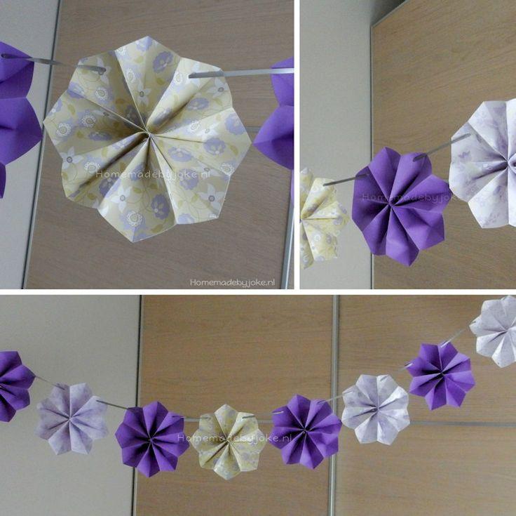 Zelf papieren bloemenslinger maken