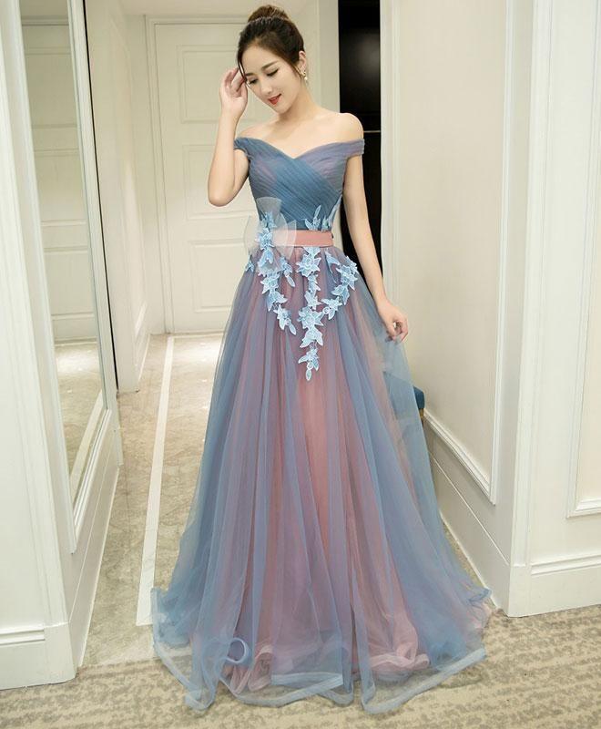 d674735192 Gray blue tulle off shoulder long prom dress, gray blue evening ...