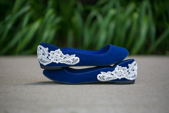Blue Wedding Flats  Ballet Flat with Ivory Lace US by walkinonair, $41.00