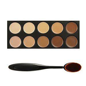 Tinabless 10 Couleurs Correcteur Palette Kit Camouflage Maquillage Complet Couverture Crème Correcteurs + Brosse à dents Ovale Pinceaux