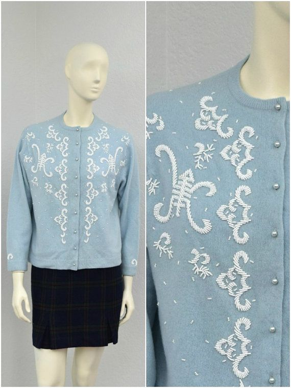 Vintage 50s Light Blue Beaded Cardigan Sweater, Baby Blue Rockabilly Pinup Cardigan, Cropped Cardigan