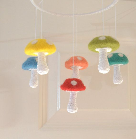 6 Mushrooms mobile, baby mobile, nursery Mobile, Alice in wonderland mobile baby crib nursery decor felted crochet red green yellow blue on Etsy, $71.06 AUD