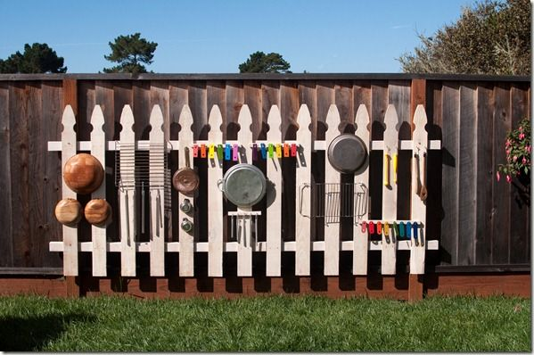 DIY Music Fence from Creatively Blooming - love the idea of adding a piece of 'pretty fence' in front of the regular fence!
