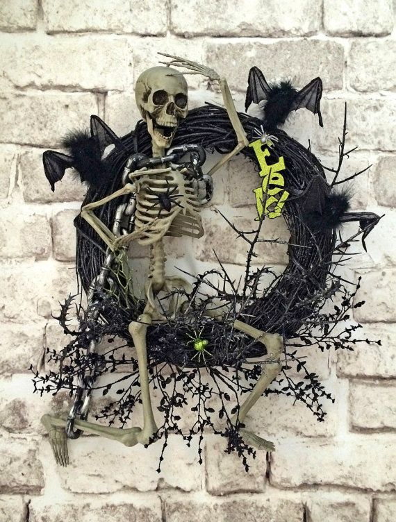 Hey, I found this really awesome Etsy listing at https://www.etsy.com/listing/201357283/skeleton-halloween-wreath-skeleton